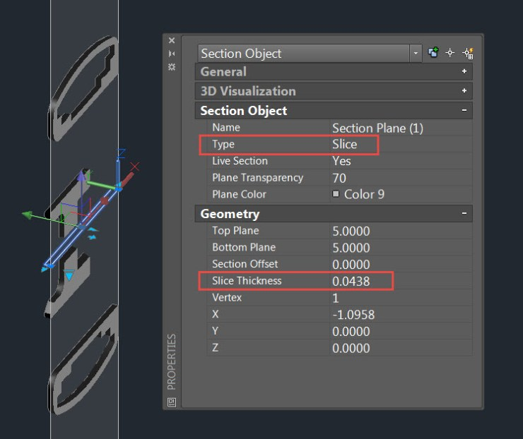 AutoCAD 2016 Section Plane Properties Slice