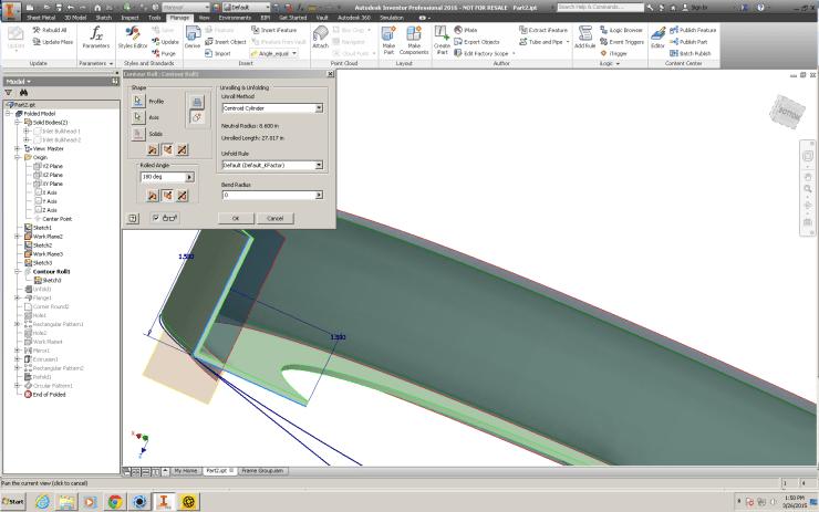 Autodesk Inventor 2016: Sheet Metal 0 bend radius