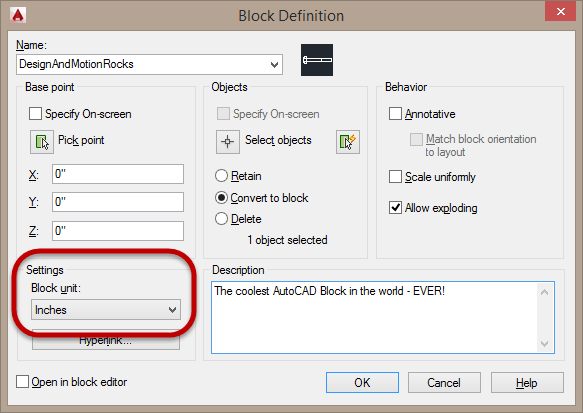 AutoCAD Block definition Units