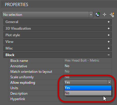 AutoCAD Block properties Allow exploding