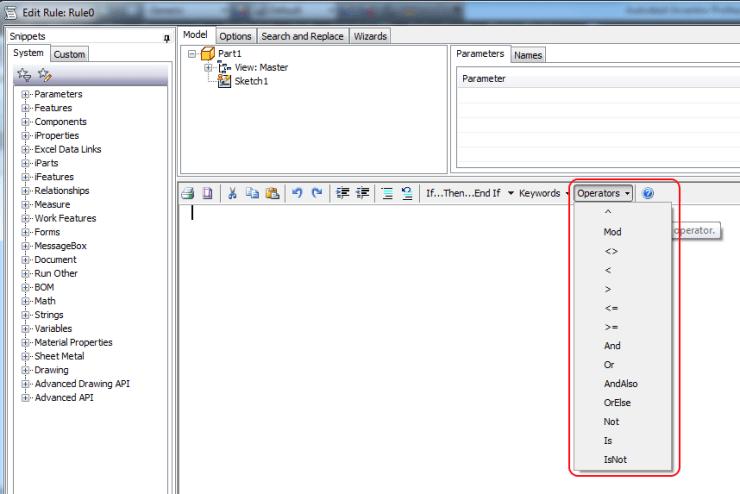 iLogic Edit Rule dialogue keywords dropdown