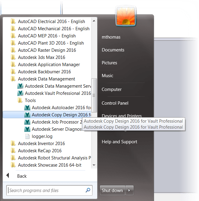 Copy Design Start Menu Location