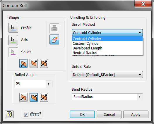 Inventor SM - Contour Roll Unroll Options