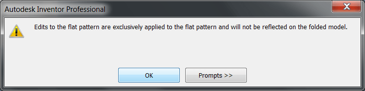 Inventor Sheet Metal - Flat Pattern Modifications Notice