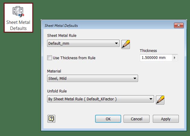 Inventor Sheet Metal Default Styles Dialog