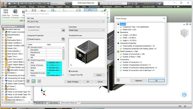 Inventor 2016 R3 IFC Export with Check Design
