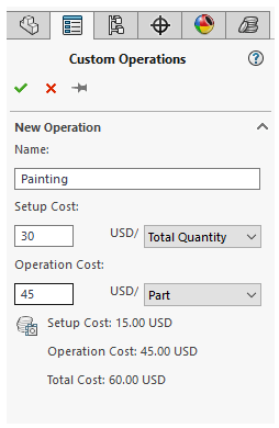 SolidWorks Costing - Add Custom Operation