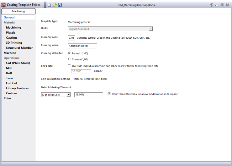 SolidWorks Costing Template General Tab
