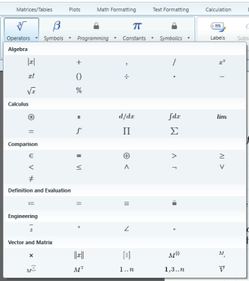 Mathcad operators