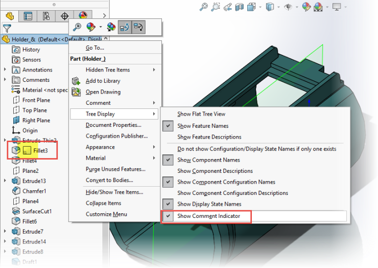 SOLIDWORKS 2017 Comment-Indicator