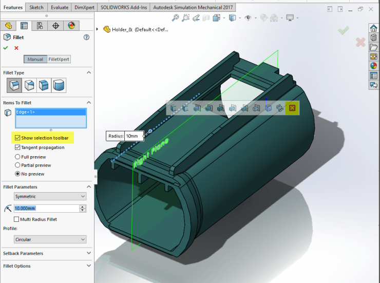 SOLIDWORKS 2017 User Interface Selection Toolbars