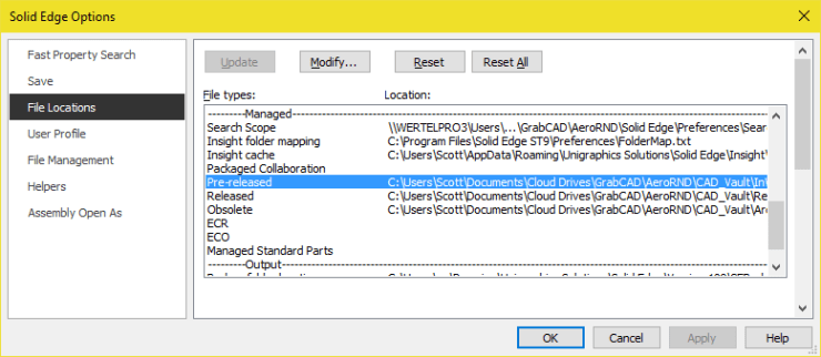 Solid Edge Lifecycle File Locations