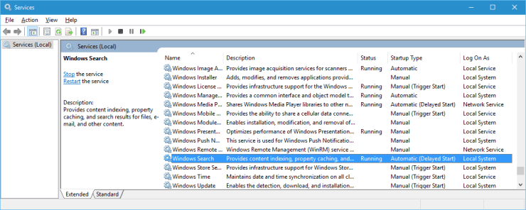 Make sure Windows Search is Running and Automatically Starts on the file server.