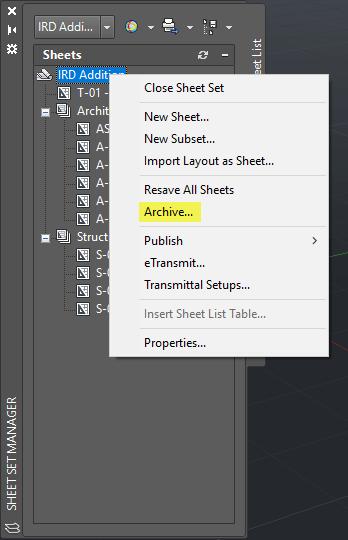 Sheet Set Manager Menu Archive