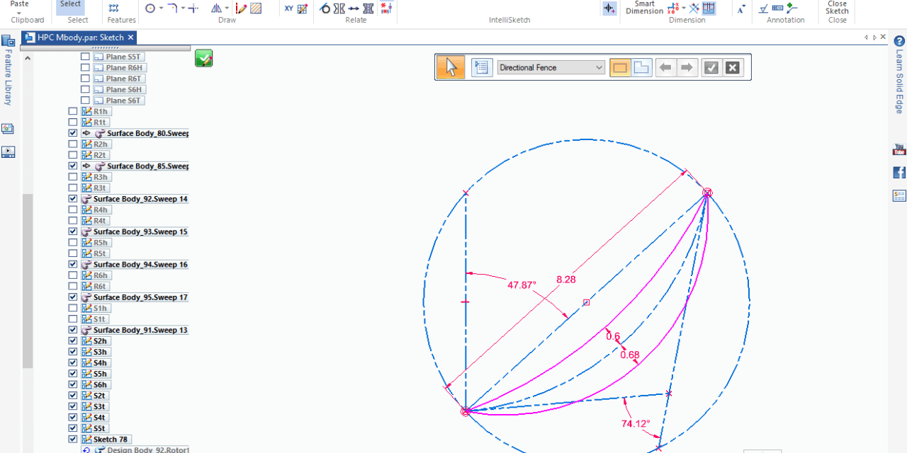Solid Edge Sketch Control Tip