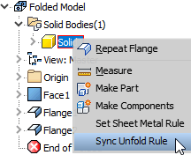 Inventor 2018.2 - Sync Sheet Metal Rule