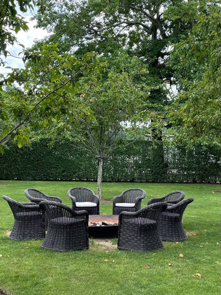 Design and Style Report image, Topping Rose House in Bridgehampton NY, outdoor seating and firepit