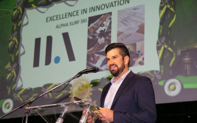 Josh accepts the HMA award for Excellence in Innovation