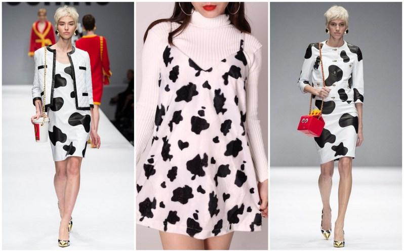 Ženy oblečené do šatů s kravím vzorem značky Moschino.