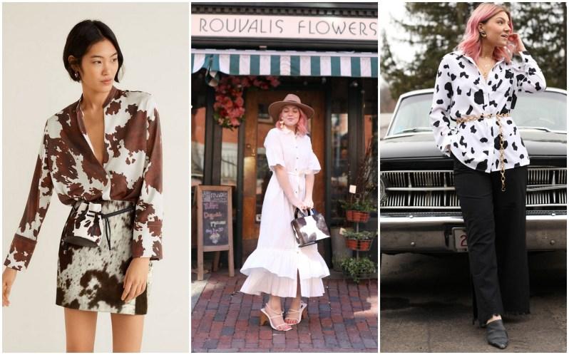 Žena oblečená v šatech s hnědo-bílým kravím vzorem. Žena v bílých boho šatech s kloboukem a kabelkou se vzorem kraví srsti. Žena v halence s kravími fleky.