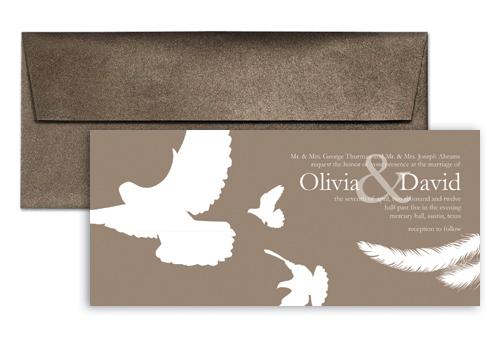 Brown White Doves Wedding Invitation Exle 9x4 In Horizontal