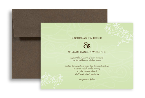 Simple Sage Light Color Wedding Invitation Templates 7x5 In Horizontal