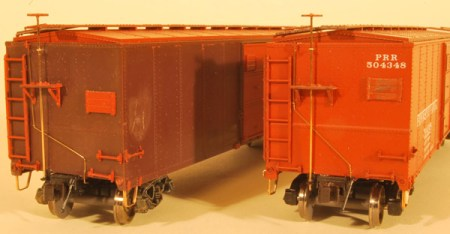 HO scale model of a W&LE steel sheathed box car.