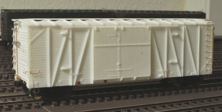 The Wabash automobile box car is ready for the paint shop.