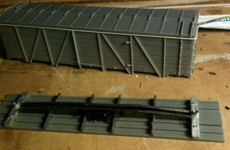 Completed under frame for the Soo Line box car kit.