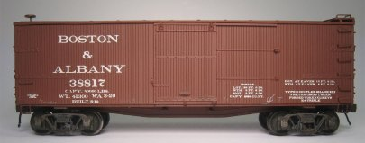 Side view of a NYC Lines 36-foot box car.