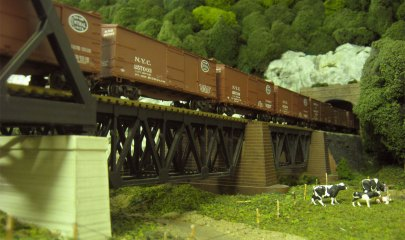 A string of new box cars heads into the Catskills on Harold's layout.