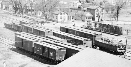 DL&W Freight Yard, Ithaca, NY, 1909. Photo X0082 DL&W Company Photo Collection, Steamtown NPS.