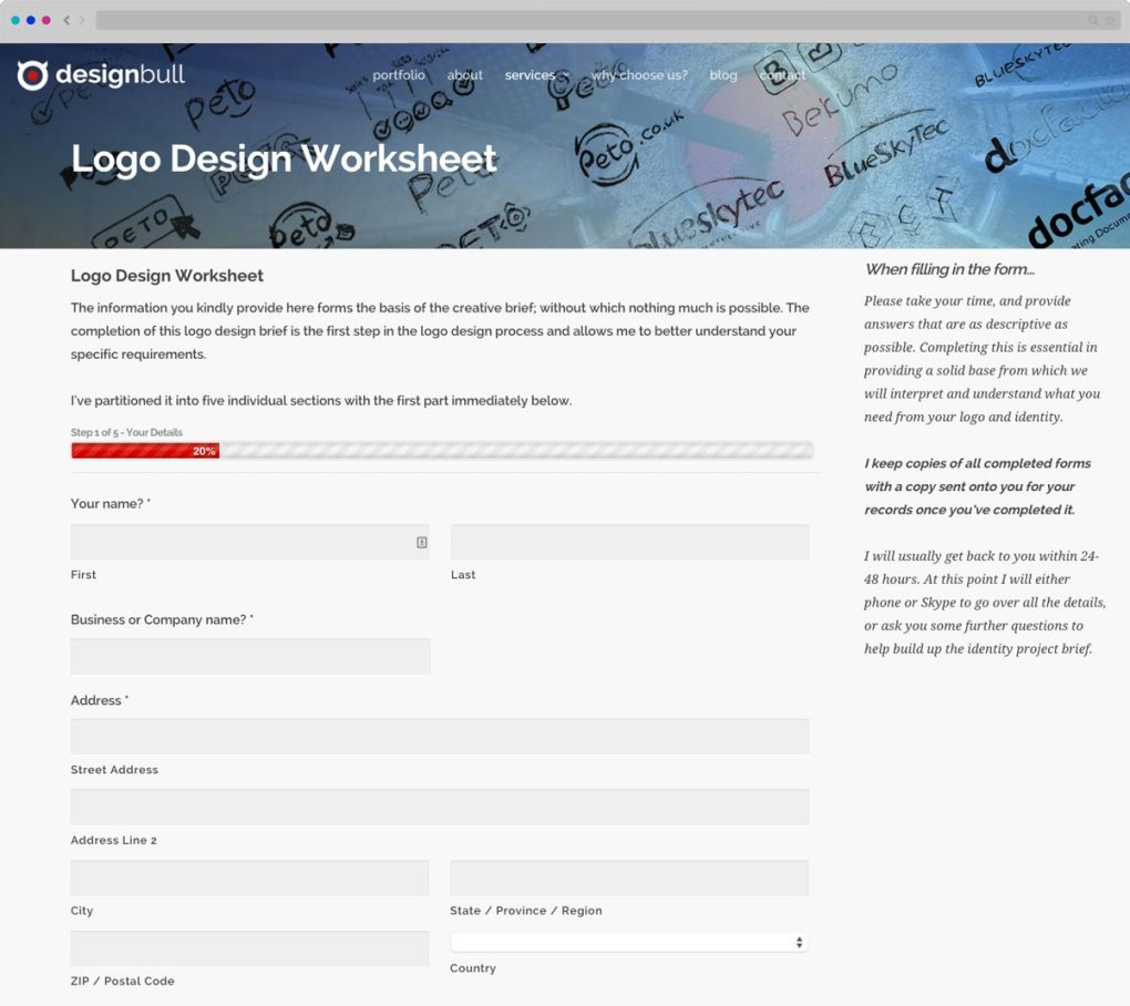 Ask client to fill out Logo Design Worksheet