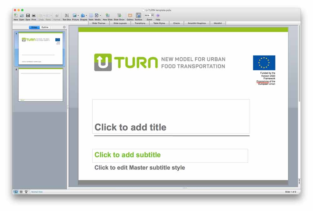 A Powerpoint template created with the new logo identity.