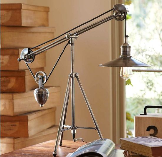 Pulley Task Table Lamp Uses A Filament Bulb To Reinforce 20th