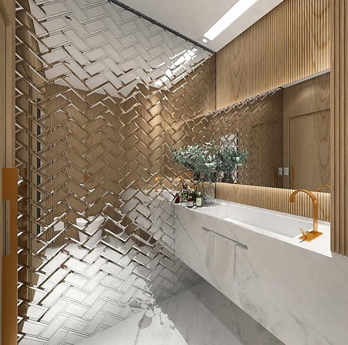 Introduce chrome to your home with these chrome design ideas on Bathroom Tile Pattern Design  id=66692