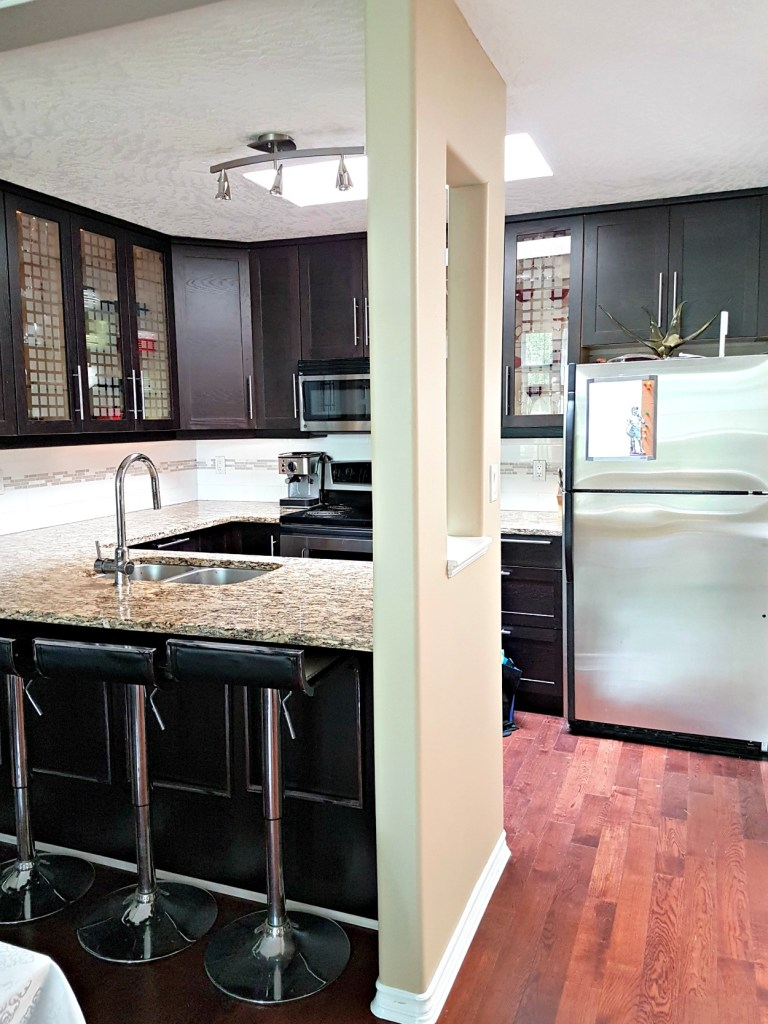 updated kitchen, IKEA kitchen cabinets, brown black cabinets,, dark kitchen cabinets, kitchen makeover, kitchen upgrade, IKEA brown black