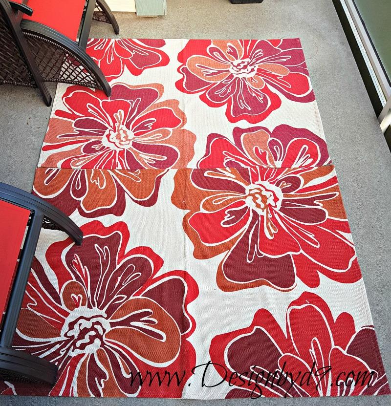 Deck refresh|$100 Room Challenge|#100roomchallenge|walmart rugs|red rugs|bright rugs