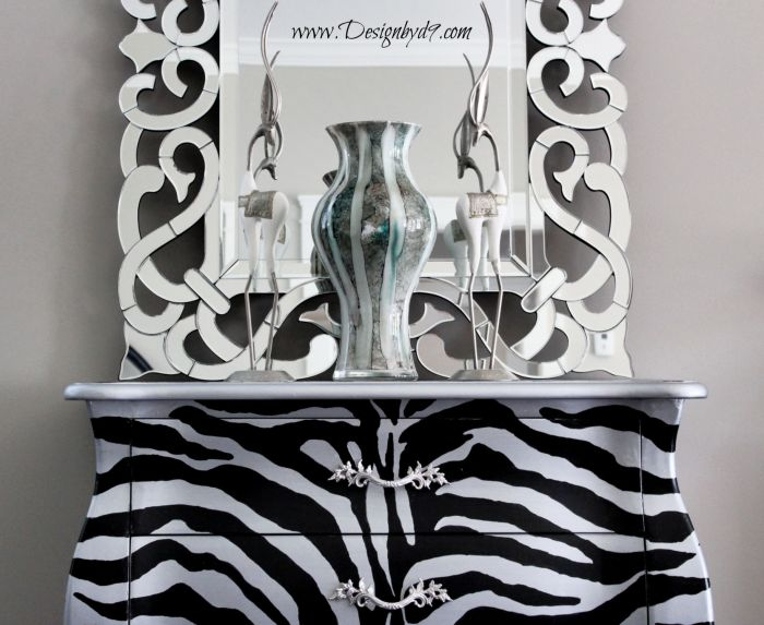 Up cycled Bombay chest with zebra stripes. Full step by step tutorial and free pattern. I'll walk you through this furniture makeover. This upcycle will work on any piece of furniture.
