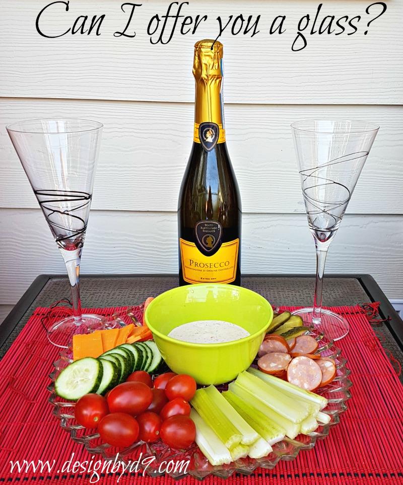 Snack platter|Prosecco|veggie platter|Drinks anyone?|#100roomchallenge