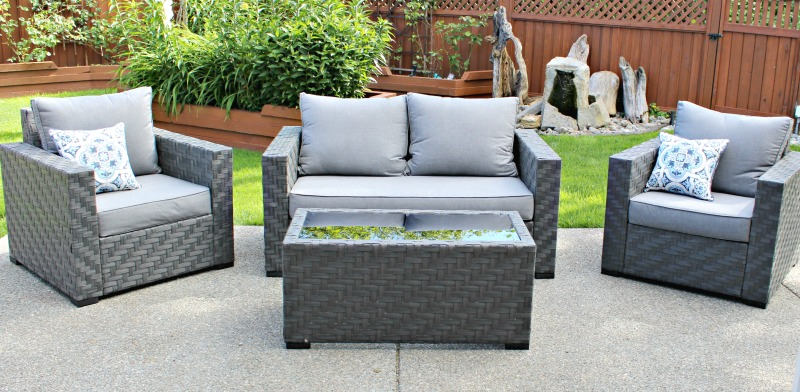 allen & roth patio furniture from Lowe's in my yard reveal for week 6 of the yard transformation challenge