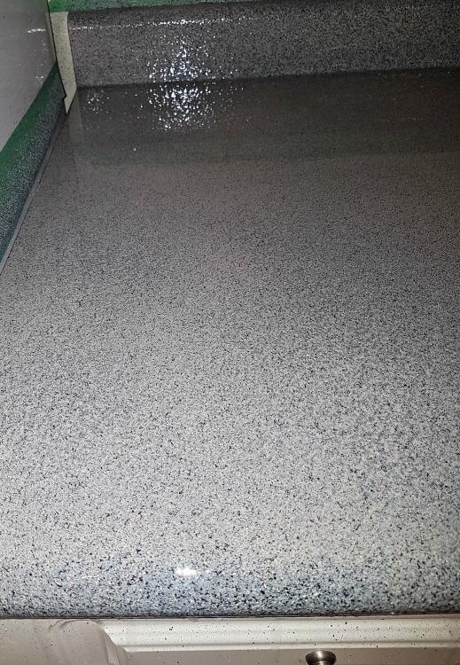 Envirotex Lite epoxy on kitchen counter detail backsplash