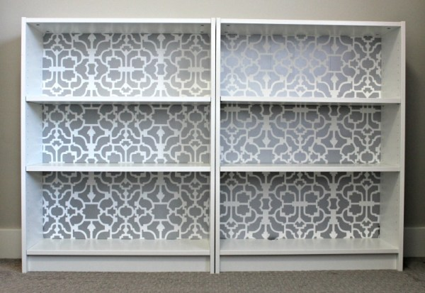 Ikea Billy bookcase stencil tutorial with rustoluem metallics paint and cutting edge stencils
