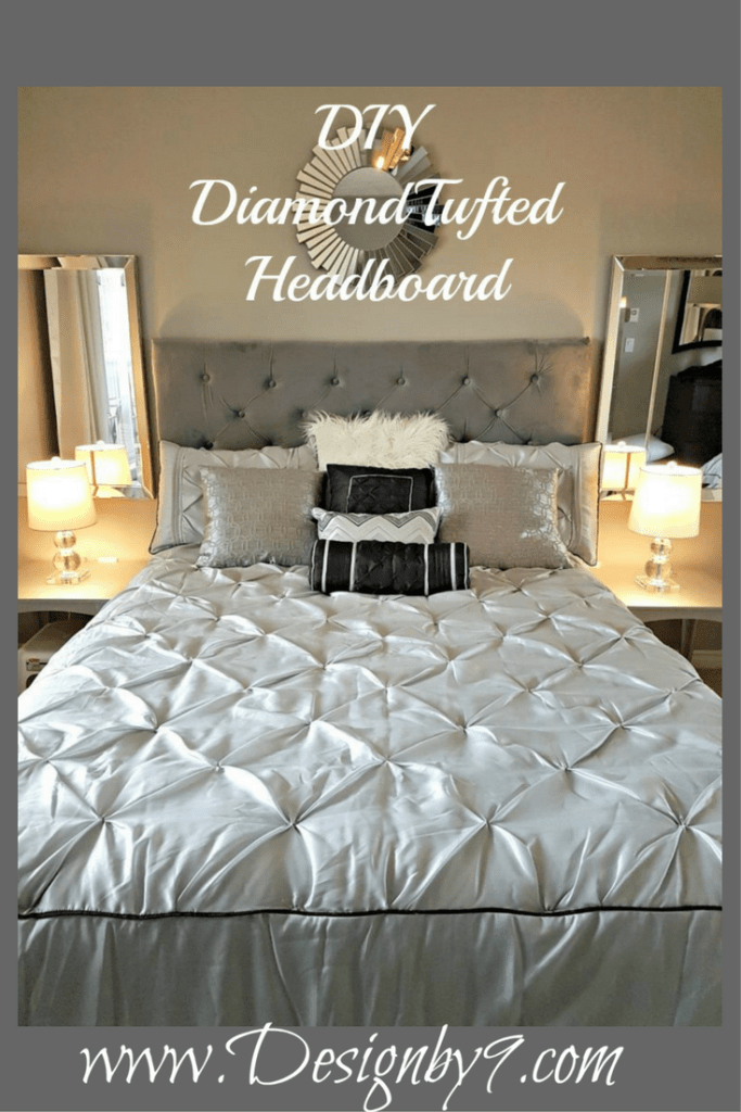DIY diamond tufted headboard|Velvet headboard|Grey headboard|DIY tufted headboard