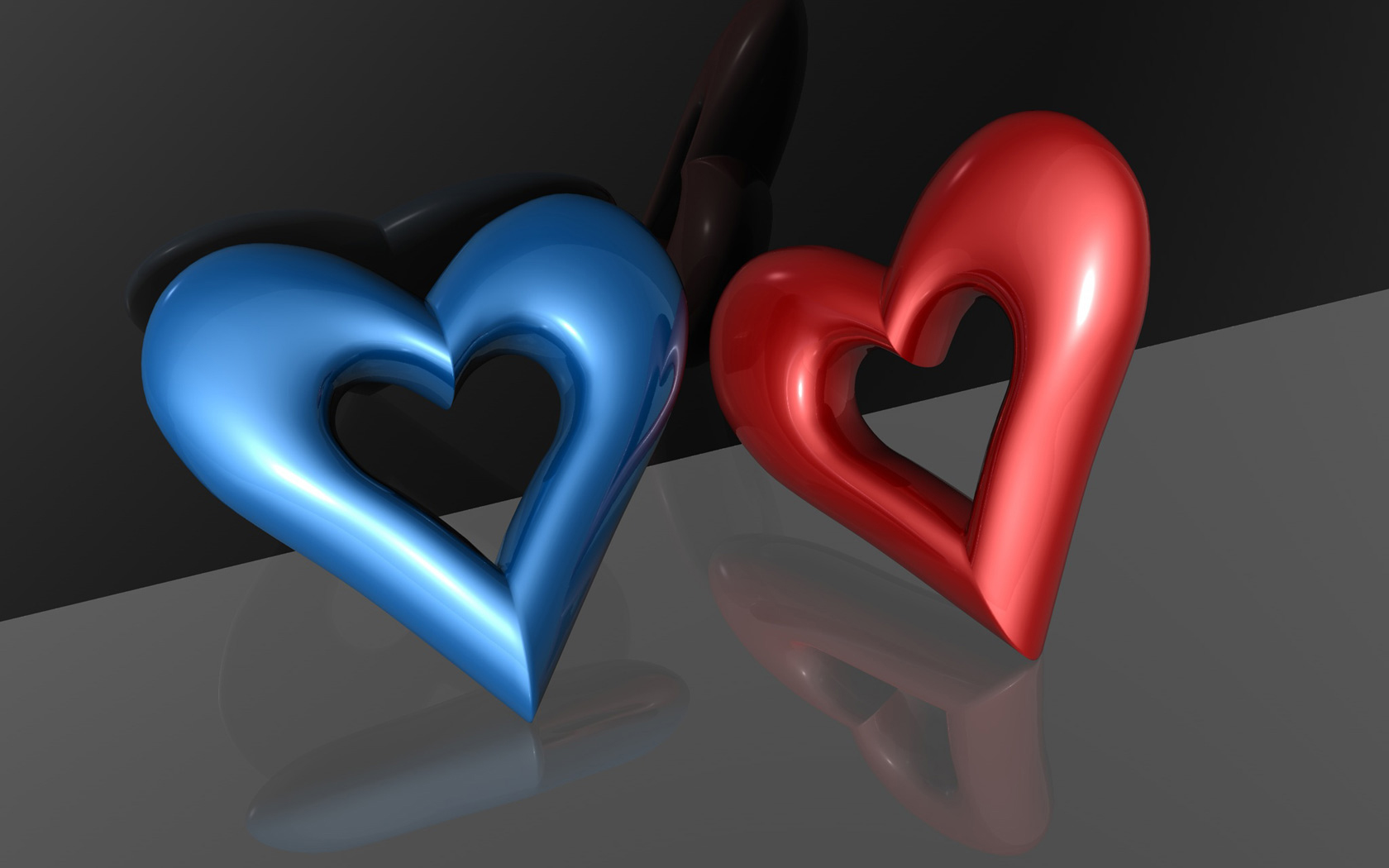 40 Breathtaking Heart Shaped Wallpapers   DesignCoral Blue and Red 3D Heart Wallpaper