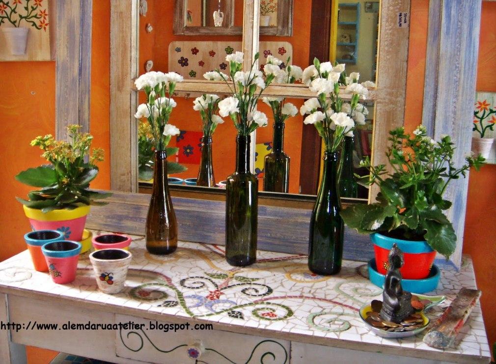RECICLAGEM - flores em garrafas recicladas