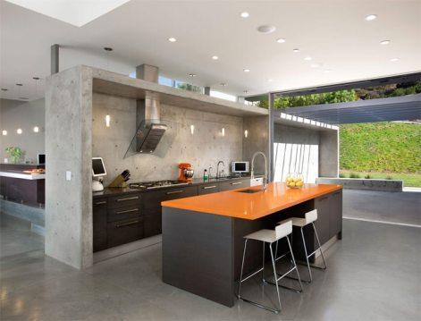 Cozinha contemporânea em concreto