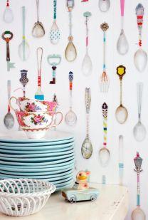 Papel de parede com estampa de colheres de chá