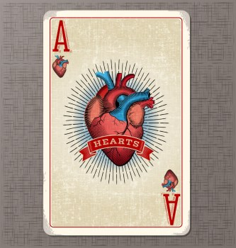 vintage playing card vector illustration of the ace of hearts with anatomical heart