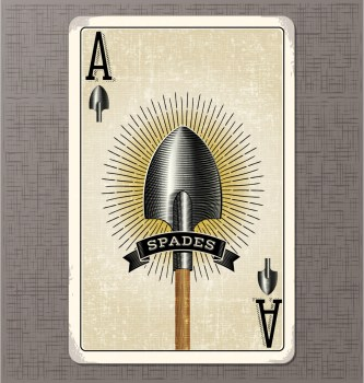 vintage playing card vector illustration of the ace of spades
